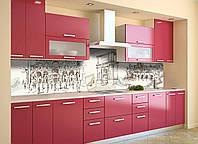 Скинали на кухню Zatarga «Ретро Місто» 650х2500 мм вінілова 3Д Наліпка кухонний фартух самоклеюча, фото 1
