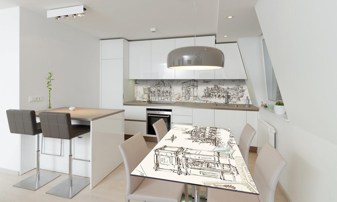 Наклейка 3Д виниловая на стол Zatarga «Ретро Город» 600х1200 мм для домов, квартир, столов, кофейн,