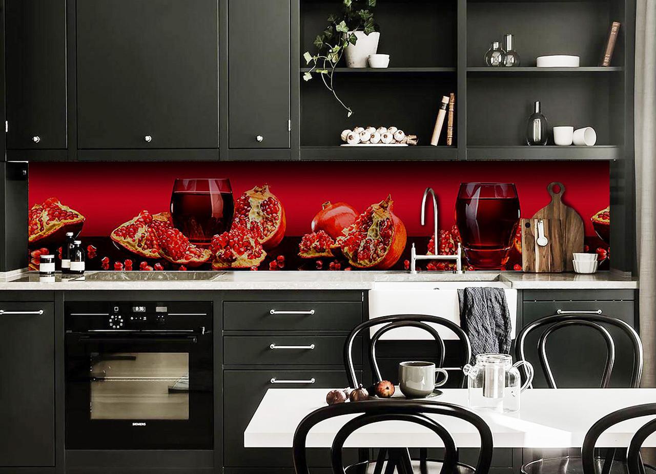 Скинали на кухню Zatarga «Гранатовий сік» 600х2500 мм вінілова 3Д Наліпка кухонний фартух самоклеюча