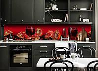 Скинали на кухню Zatarga «Гранатовий сік» 600х2500 мм вінілова 3Д Наліпка кухонний фартух самоклеюча, фото 1