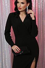 Вечернее платье с разрезом черное Цецилия