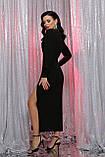 Вечернее платье с разрезом черное Цецилия, фото 3