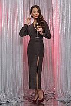 Вечернее платье с разрезом черный бронза Цецилия