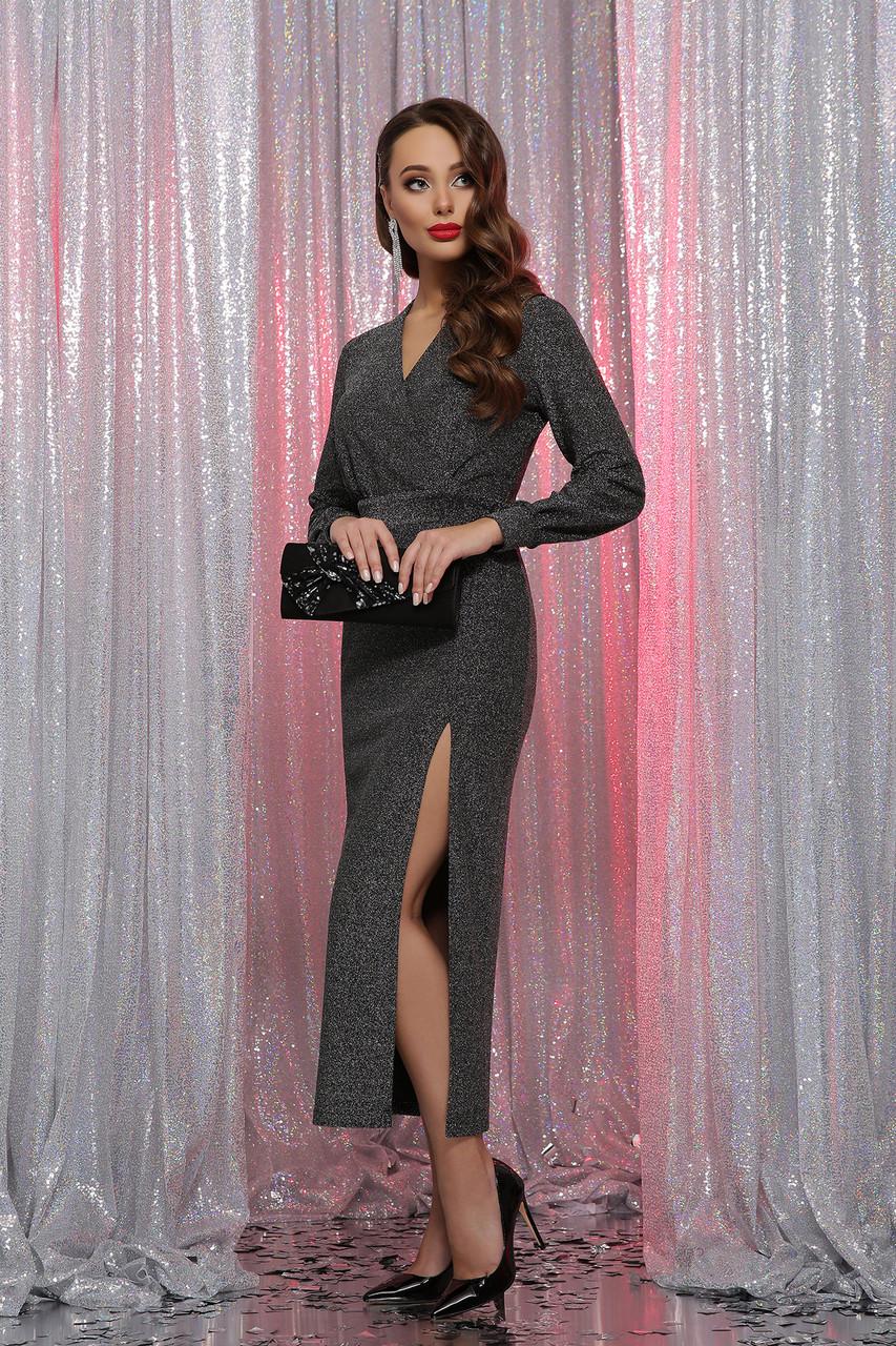 Вечернее платье с разрезом черный серебро Цецилия