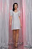 Вечернее платье с пайетками белое хамелеон Элозия, фото 3