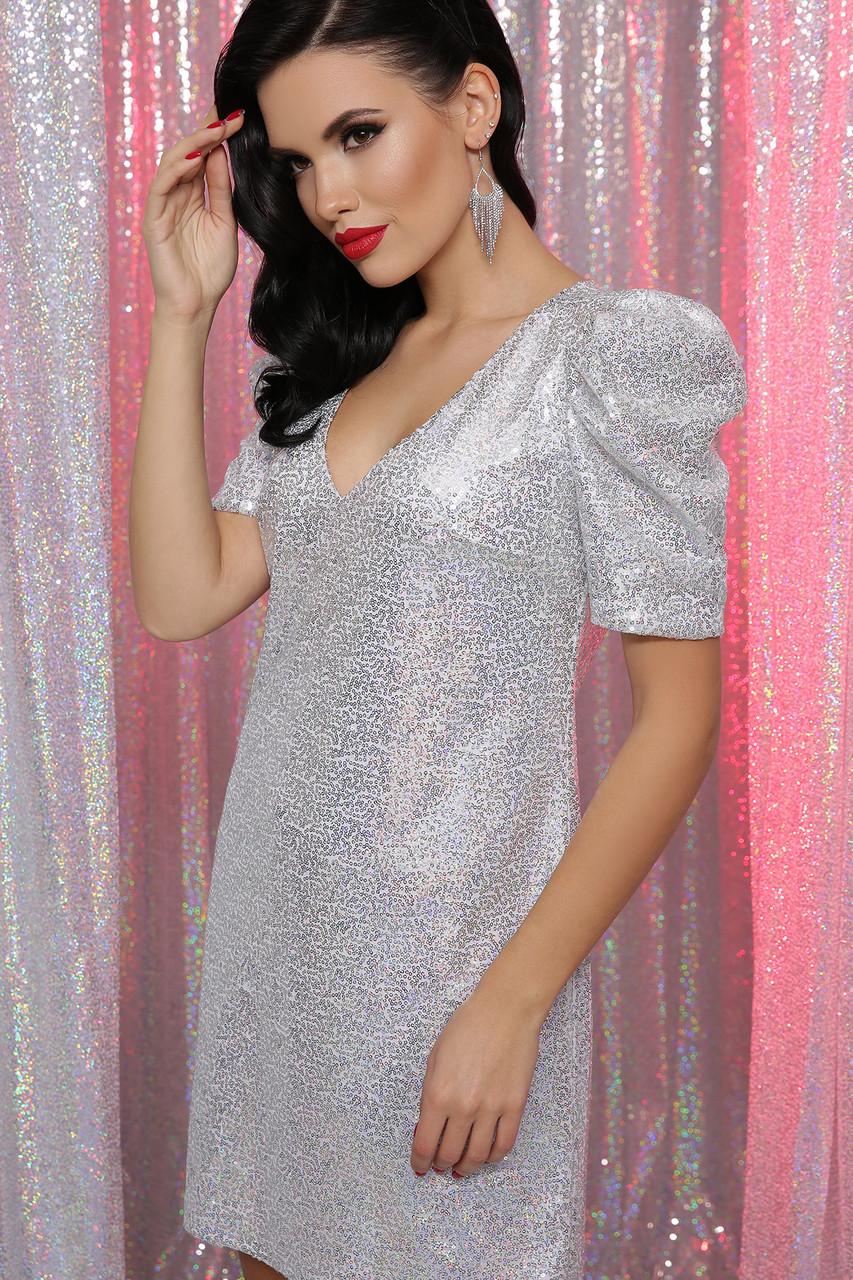 Вечернее платье с пайетками белое хамелеон Элозия