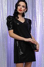 Вечернее платье с пайетками черное Элозия