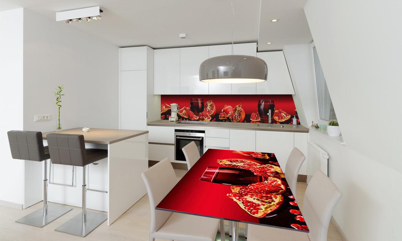 Наклейка 3Д виниловая на стол Zatarga «Гранатовый сок» 600х1200 мм для домов, квартир, столов, кофейн,