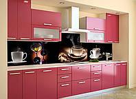 Скинали на кухню Zatarga «Напитки Кофе» 600х3000 мм виниловая 3Д наклейка кухонный фартук самоклеящаяся для