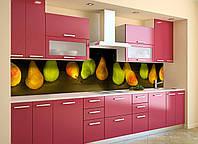 Скинали на кухню Zatarga «Крупные Груши» 600х2500 мм виниловая 3Д наклейка кухонный фартук самоклеящаяся, фото 1