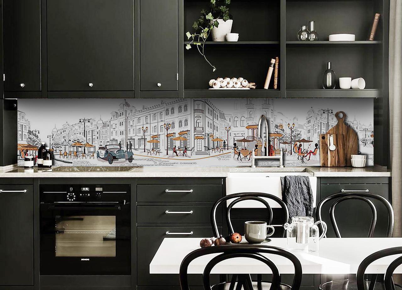 Скинали на кухню Zatarga «Улицы Парижа» 650х2500 мм виниловая 3Д наклейка кухонный фартук самоклеящаяся