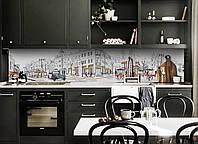 Скинали на кухню Zatarga «Улицы Парижа» 650х2500 мм виниловая 3Д наклейка кухонный фартук самоклеящаяся, фото 1