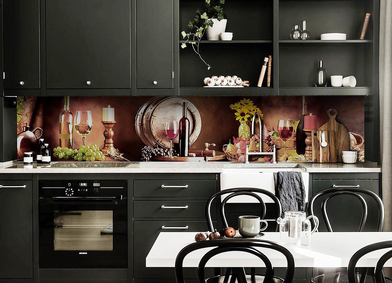 Скинали на кухню Zatarga «Вино Бочка» 600х3000 мм виниловая 3Д наклейка кухонный фартук самоклеящаяся