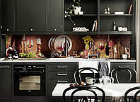 Скинали на кухню Zatarga «Вино Бочка» 600х3000 мм виниловая 3Д наклейка кухонный фартук самоклеящаяся, фото 1
