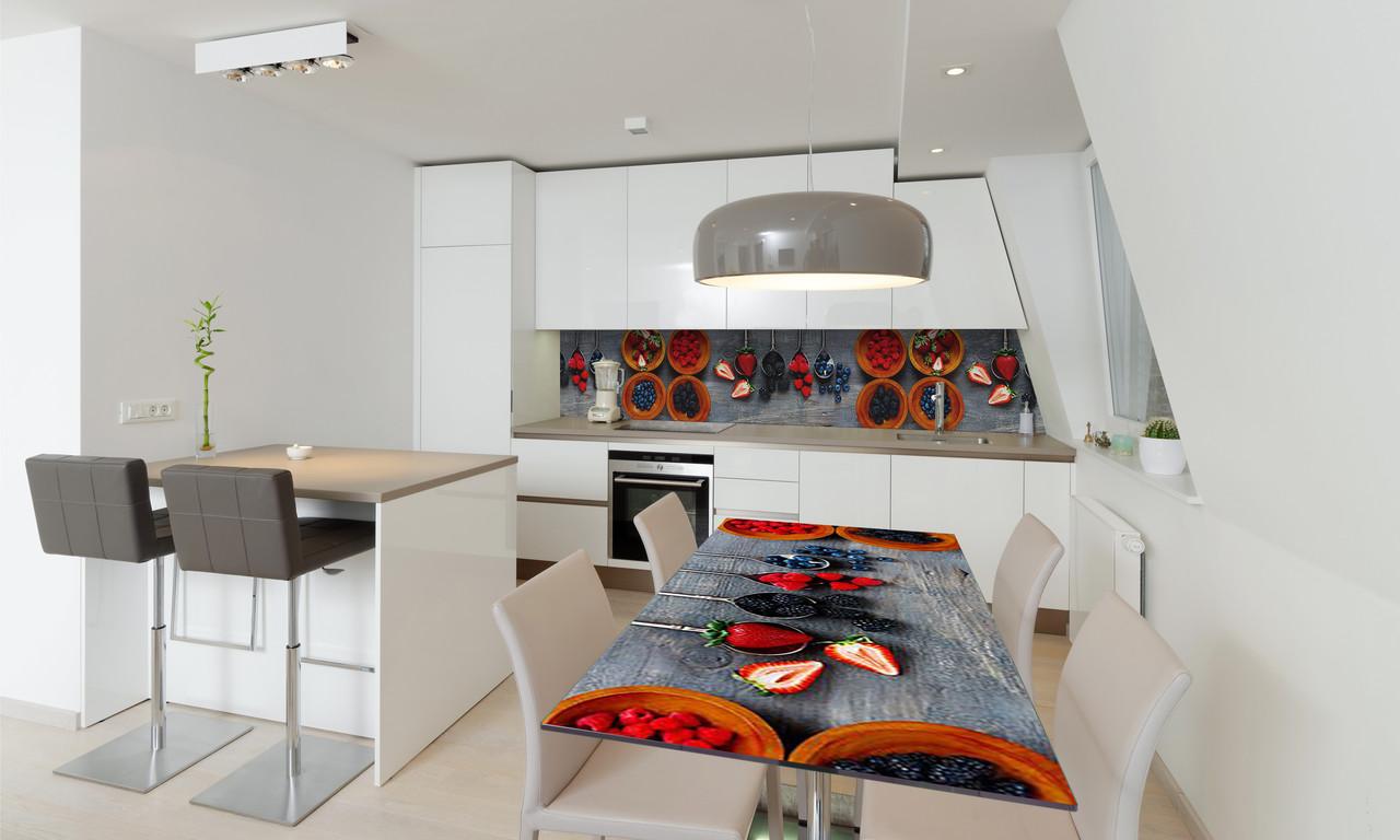 Наклейка 3Д виниловая на стол Zatarga «Лесные ягоды» 600х1200 мм для домов, квартир, столов, кофейн,