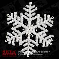 Снежинка с блестками d=16 см пластик