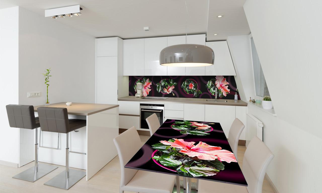 Наклейка 3Д виниловая на стол Zatarga «Гибискус» 600х1200 мм для домов, квартир, столов, кофейн, кафе
