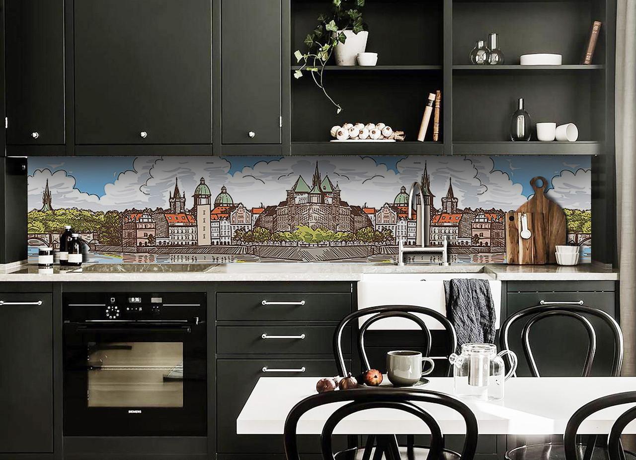 Скинали на кухню Zatarga «Крепость» 600х2500 мм виниловая 3Д наклейка кухонный фартук самоклеящаяся