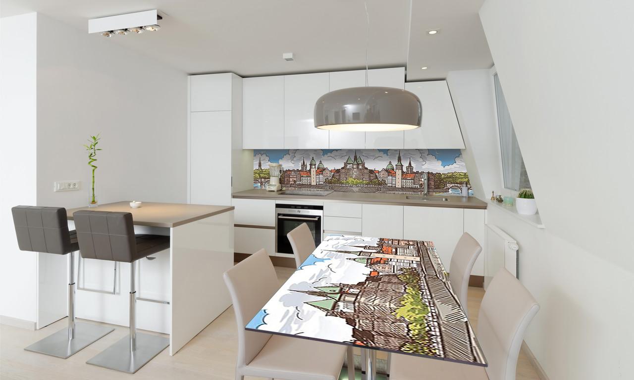 Наклейка 3Д виниловая на стол Zatarga «Крепость» 650х1200 мм для домов, квартир, столов, кофейн, кафе