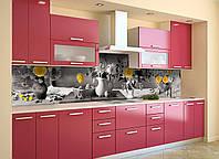 Скинали на кухню Zatarga «Желтый акцент» 600х2500 мм виниловая 3Д наклейка кухонный фартук самоклеящаяся, фото 1