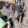 Р 42-56 Двухсторонняя зимняя удлиненная куртка с голограммой Батал 23083-1