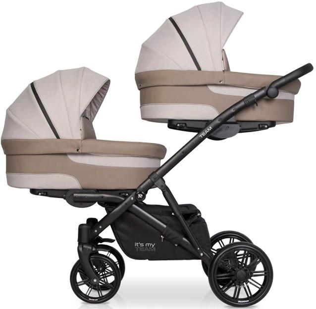 Детская универсальная коляска для двойни Riko Team Duo 02 Cappuccino