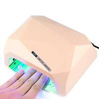 уф лампа для маникюра LED+CCFL Гибридная лампа для гель-лаков и Геля 36 watt ПУДРОВЫЙ