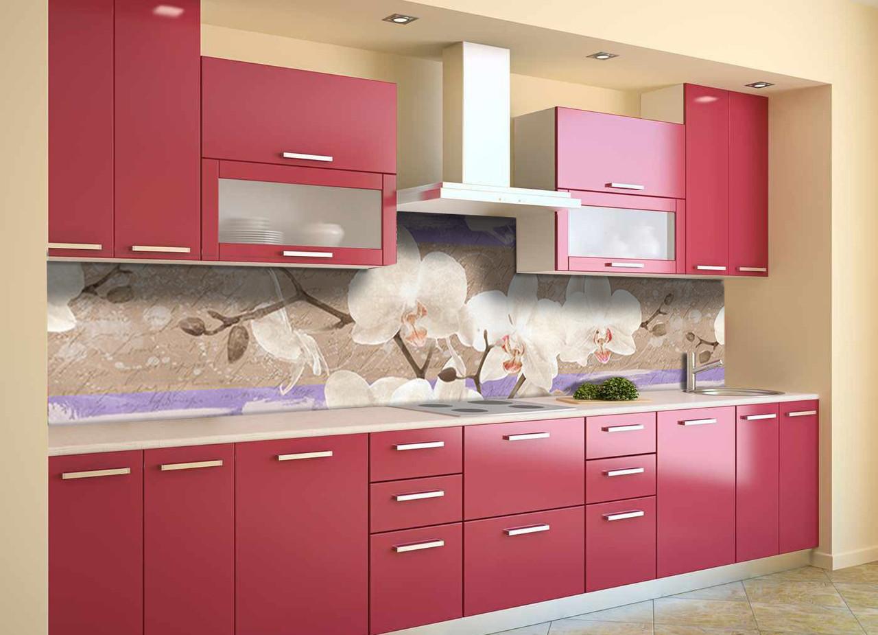 Скинали на кухню Zatarga «Орхідеї Текстура» 600х2500 мм вінілова 3Д Наліпка кухонний фартух самоклеюча