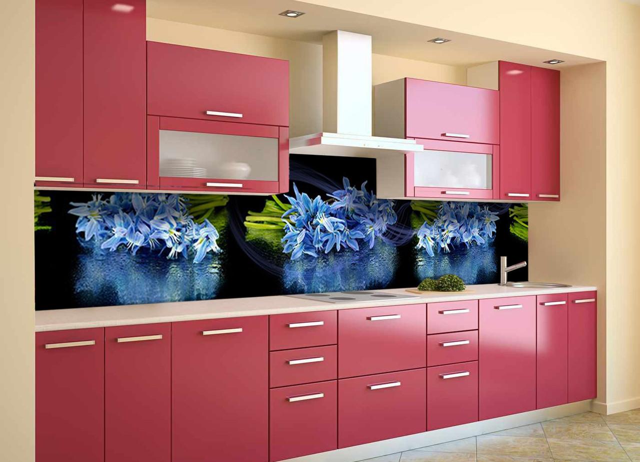 Скинали на кухню Zatarga «Синие Подснежники» 600х2500 мм виниловая 3Д наклейка кухонный фартук самоклеящаяся