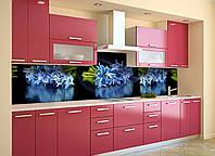Скинали на кухню Zatarga «Синие Подснежники» 600х2500 мм виниловая 3Д наклейка кухонный фартук самоклеящаяся, фото 1