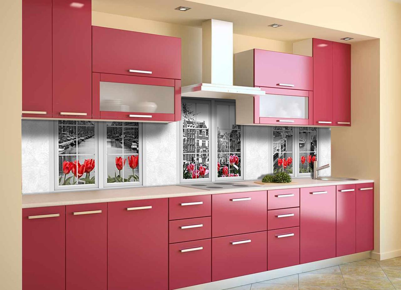Скинали на кухню Zatarga «Окна» 600х2500 мм виниловая 3Д наклейка кухонный фартук самоклеящаяся