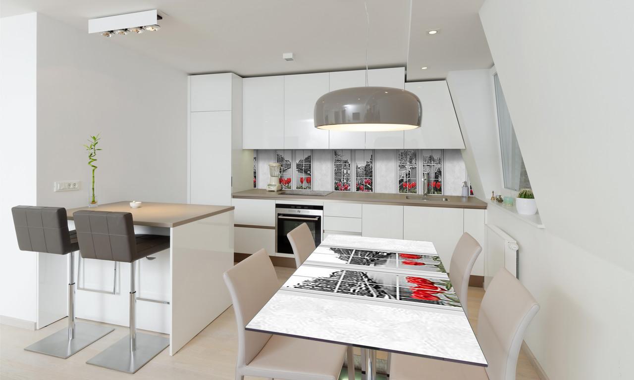 Наклейка 3Д виниловая на стол Zatarga «Окна» 600х1200 мм для домов, квартир, столов, кофейн, кафе