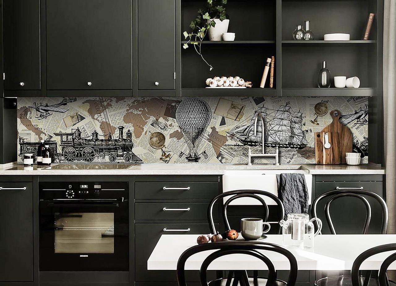 Скинали на кухню Zatarga «Ретро Мир» 650х2500 мм виниловая 3Д наклейка кухонный фартук самоклеящаяся