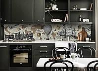 Скинали на кухню Zatarga «Ретро Мир» 650х2500 мм виниловая 3Д наклейка кухонный фартук самоклеящаяся, фото 1