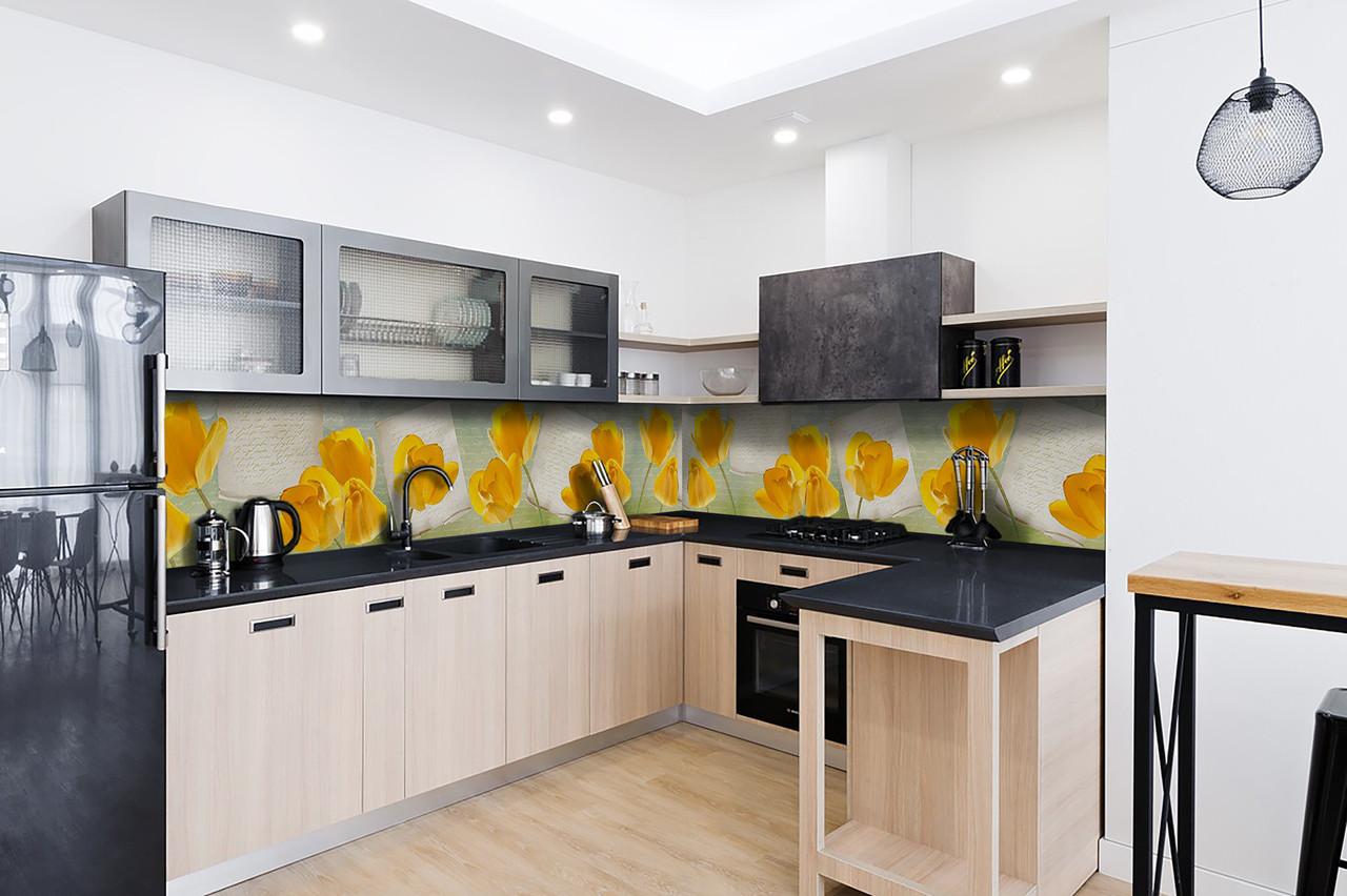 Скинали на кухню Zatarga «Желтые Тюльпаны» 600х3000 мм виниловая 3Д наклейка кухонный фартук самоклеящаяся