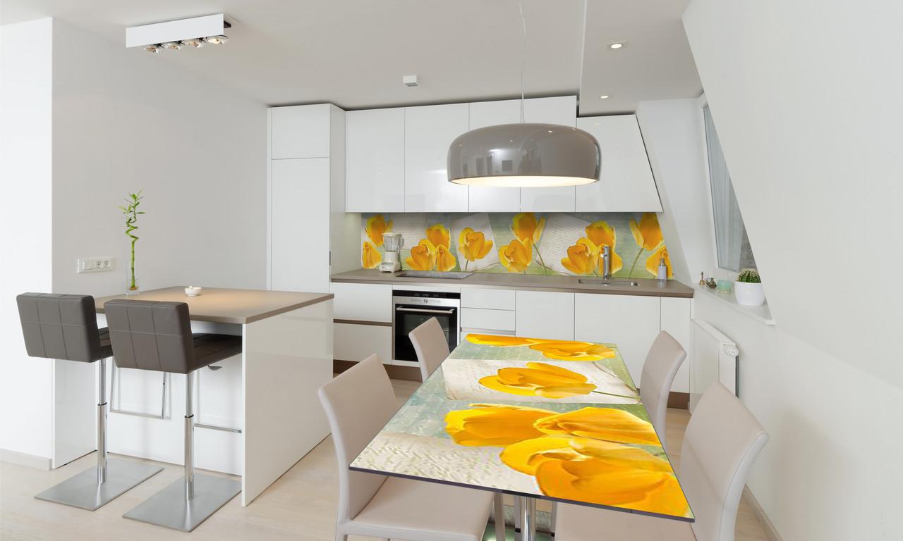 Наклейка 3Д виниловая на стол Zatarga «Желтые Тюльпаны» 600х1200 мм для домов, квартир, столов, кофейн,