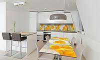 Наклейка 3Д виниловая на стол Zatarga «Желтые Тюльпаны» 600х1200 мм для домов, квартир, столов, кофейн,, фото 1