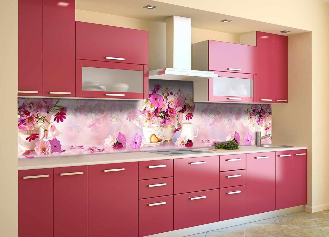 Скинали на кухню Zatarga «Букеты розовых цветов» 650х2500 мм виниловая 3Д наклейка кухонный фартук