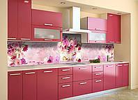 Скинали на кухню Zatarga «Букеты розовых цветов» 600х3000 мм виниловая 3Д наклейка кухонный фартук, фото 1