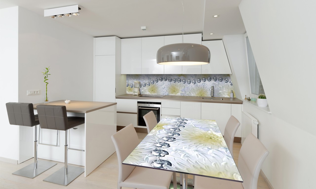 Наклейка 3Д виниловая на стол Zatarga «Серебряные бусы» 650х1200 мм для домов, квартир, столов, кофейн,