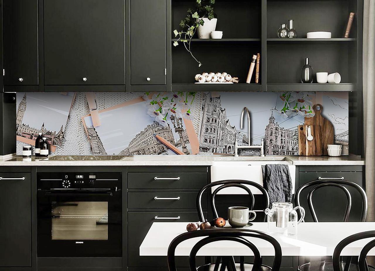 Скинали на кухню Zatarga «Лондон и Ромашки» 600х2500 мм виниловая 3Д наклейка кухонный фартук самоклеящаяся