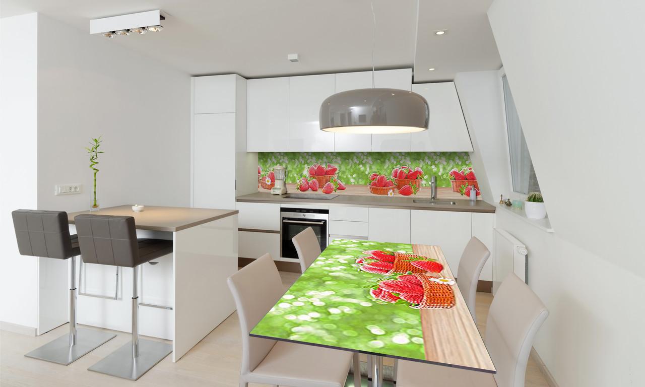 Наклейка 3Д виниловая на стол Zatarga «Клубника на столе» 650х1200 мм для домов, квартир, столов,