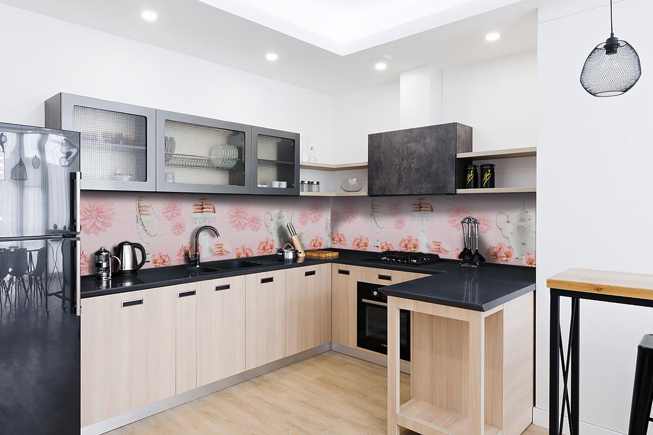 Скинали на кухню Zatarga «Розовые Хризантемы» 600х2500 мм виниловая 3Д наклейка кухонный фартук самоклеящаяся