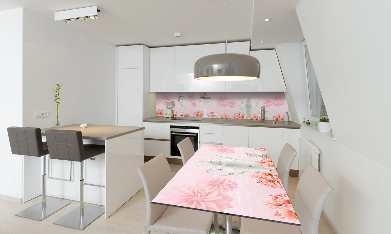 Наклейка 3Д виниловая на стол Zatarga «Розовые Хризантемы» 600х1200 мм для домов, квартир, столов,