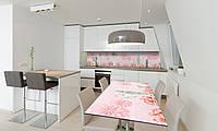 Наклейка 3Д виниловая на стол Zatarga «Розовые Хризантемы» 600х1200 мм для домов, квартир, столов, , фото 1