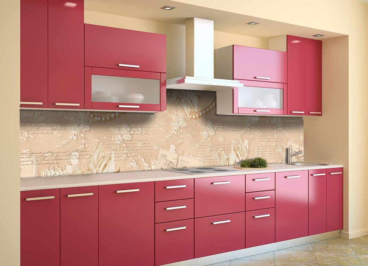 Скинали на кухню Zatarga «Кружево» 650х2500 мм виниловая 3Д наклейка кухонный фартук самоклеящаяся