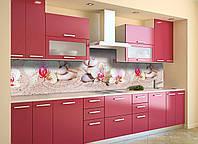 Скинали на кухню Zatarga «Орхидеи и Песок» 650х2500 мм виниловая 3Д наклейка кухонный фартук самоклеящаяся, фото 1
