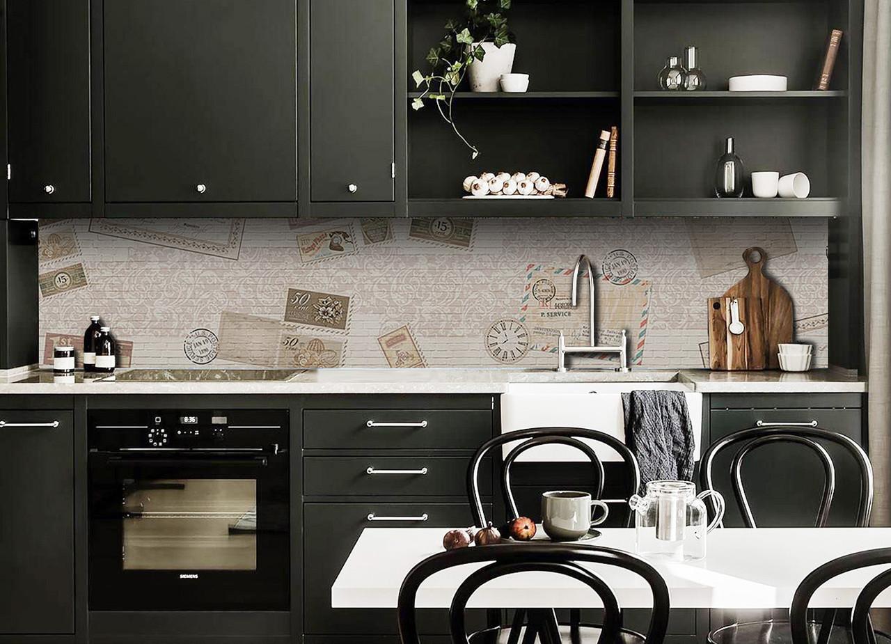 Скинали на кухню Zatarga «Почтовая марка» 650х2500 мм виниловая 3Д наклейка кухонный фартук самоклеящаяся