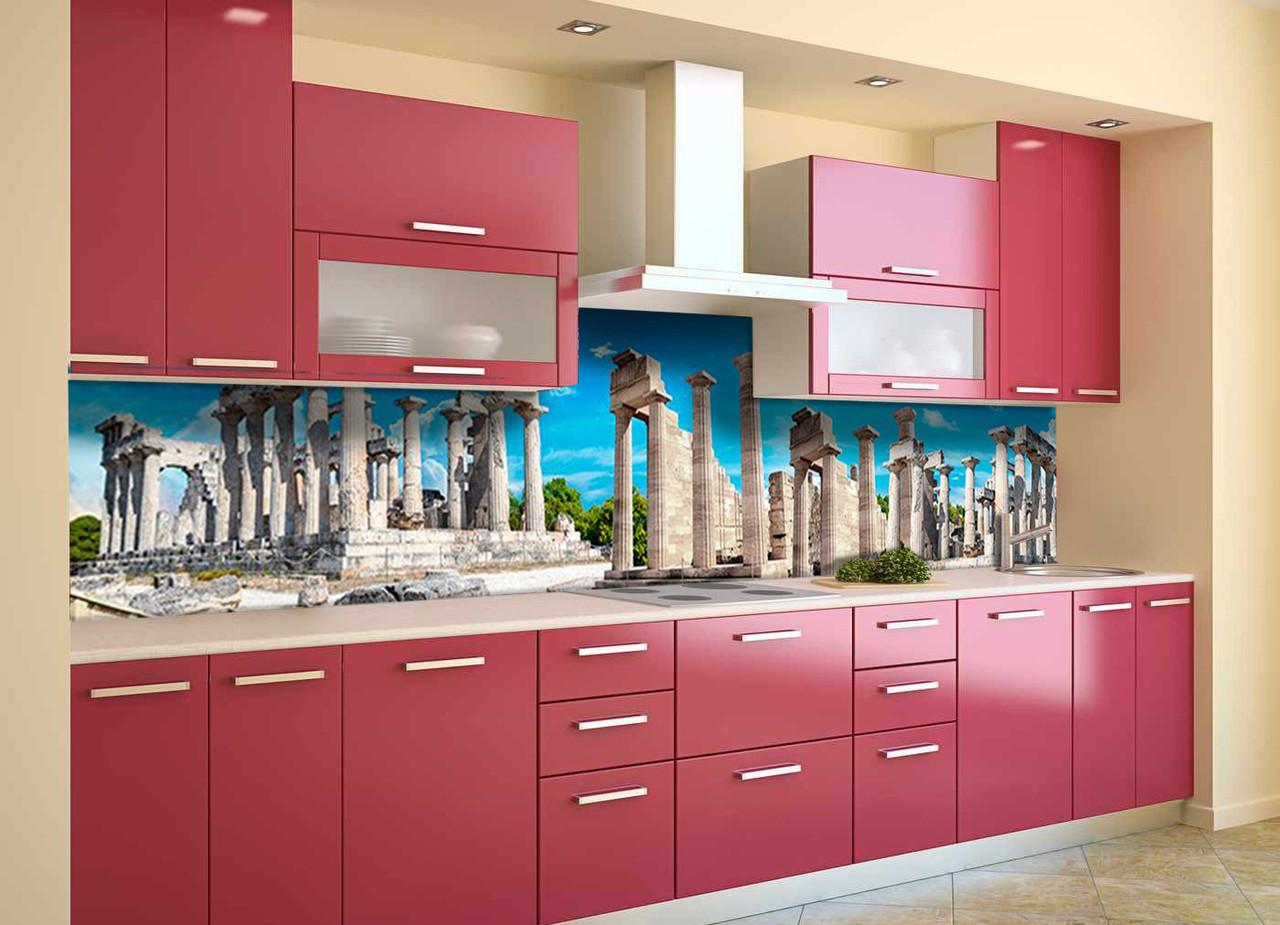 Скинали на кухню Zatarga «Руины Храма» 600х3000 мм виниловая 3Д наклейка кухонный фартук самоклеящаяся