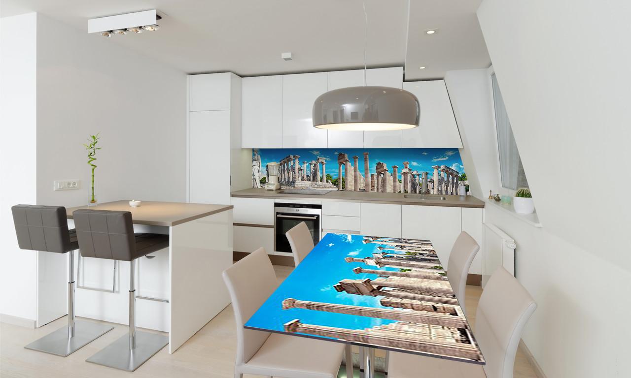 Наклейка 3Д виниловая на стол Zatarga «Руины Храма» 600х1200 мм для домов, квартир, столов, кофейн,
